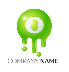 O letter splash green dots and bubbles letter vector