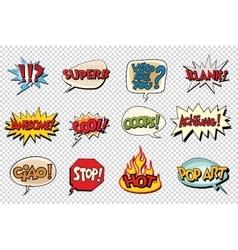 Set comic book bubble stickers vector
