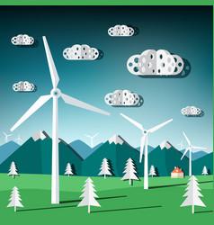 wind mills flat design paper cut landscape with vector image