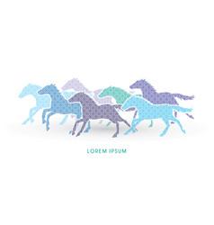 7 horses running vector image