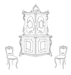 Antique cupboard and chairs vector