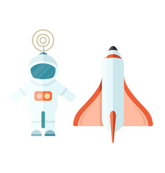 Astronaut and space rocket isolated on white vector
