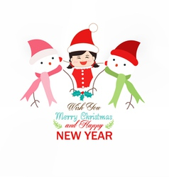 Baby girl and snowman wearing scarf christmas vector