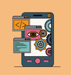Background with tools apps in smartphone vector