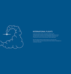 Banner plane in cky in clouds vector
