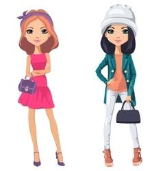 beautiful fashion girls vector image