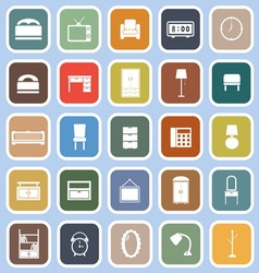 Bedroom flat icons on blue background vector image