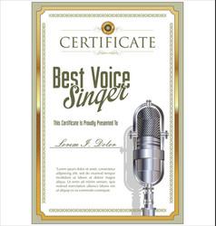 best voice singer karaoke party certificate vector image