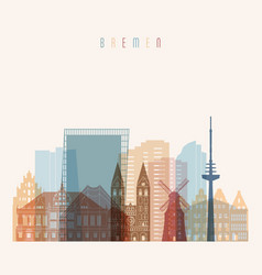bremen skyline detailed silhouette vector image