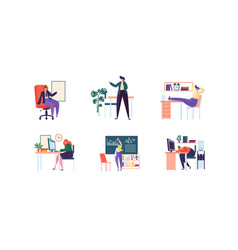 business characters working in office management vector image