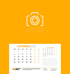 Calendar for october 2021 week starts on monday vector