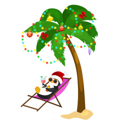 Cartoon penguin laying in hammock under palm tree vector