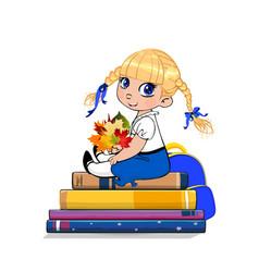 Cartoon school girl in uniform sitting on books vector