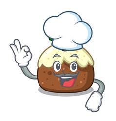 chef fruit cake character cartoon vector image