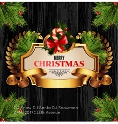 Christmas background with golden frame and holiday vector image