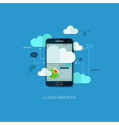 Cloud services vision flat web infographic vector image