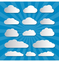 Clouds Cut From Paper on Blue Background vector image vector image