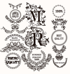collection of antique hand drawn labels for design vector image
