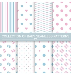 Collection of baby seamless patterns vector