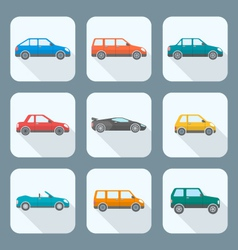colored flat style various body types of cars vector image