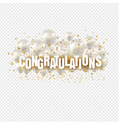 congratulations card and transparent balloons vector image