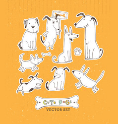 Cute cartoon dog set hand drawn doodle vector