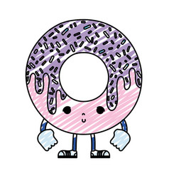 Doodle kawaii nice donut with arms and legs vector