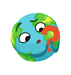 Doubting earth planet character holding red vector
