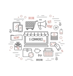 E-commerce concept Line icons for business web vector image