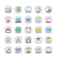 Education flat line icons 2 vector