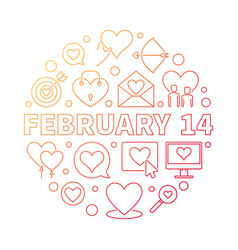 february 14 outline round colored vector image