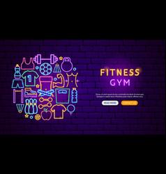 fitness gym neon banner design vector image