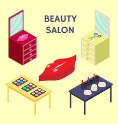 flat 3d isometric creative beauty salon new vector image