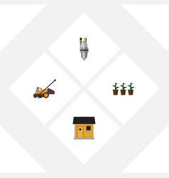 Flat icon farm set of flowerpot pump lawn mower vector