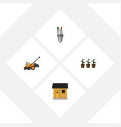 flat icon farm set of flowerpot pump lawn mower vector image vector image