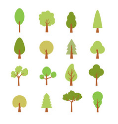 Flat trees set flat forest tree nature plant vector