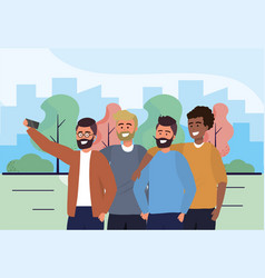 Fun men friends with smartphone and casual clothes vector