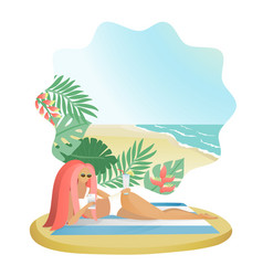 girl with mobile phones on sea beach vector image