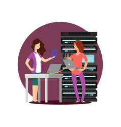 girls engineer technician working in server room vector image