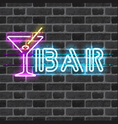 Glowing neon bar sign with martini glass vector