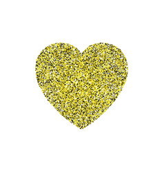 Gold glitter heart sign sparkles isolated on white vector