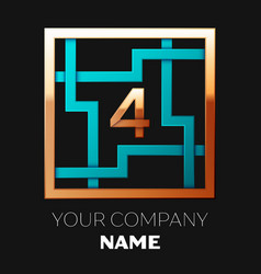 golden number four logo symbol in the square maze vector image