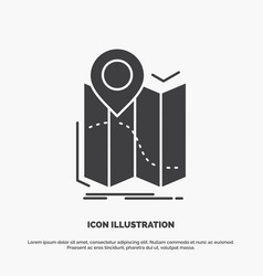 gps location map navigation route icon glyph gray vector image