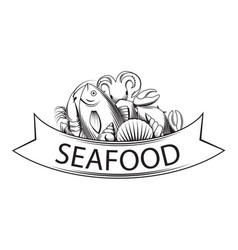 graphic seafood together vector image