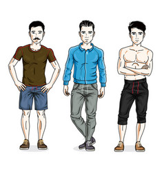 Handsome young men group standing in stylish vector