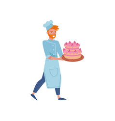 happy bearded baker carrying big tasty cake on vector image