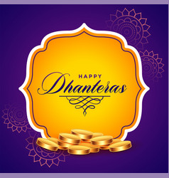 Happy dhanteras background with golden coins vector