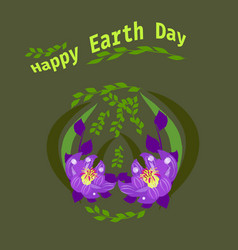 Happy earth day hand lettering card background vector