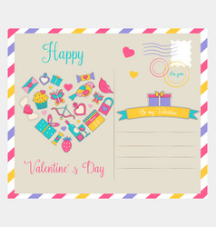 holiday card with elements for valentines day vector image