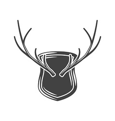 Horns hunting trophy on wall Black icon logo vector